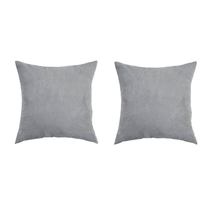 Set of 2 VOLTERRA removable grey suedecloth cushions 40x40