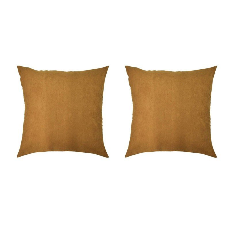 Set of 2 VOLTERRA removable cushions in camel suede 40x40