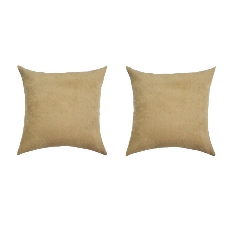 Set of 2 removable VOLTERRA cushions in dark beige suede 40x40