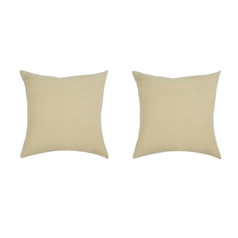 Set of 2 removable cushions VOLTERRA beige suedecloth 40x40
