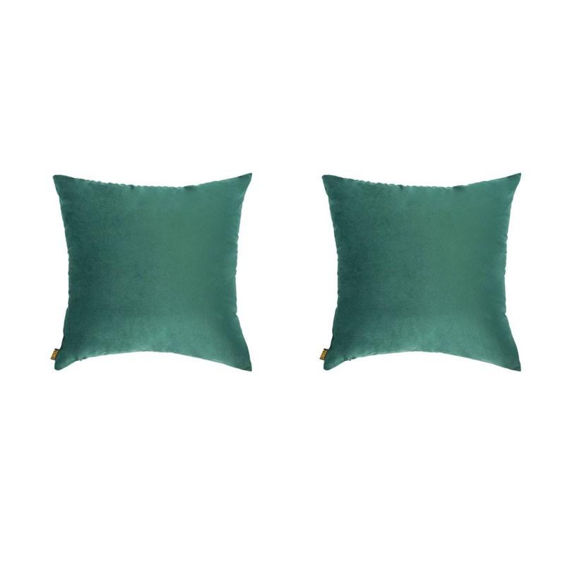 Set of 2 removable VILLETTA cushions in green velvet 40x40