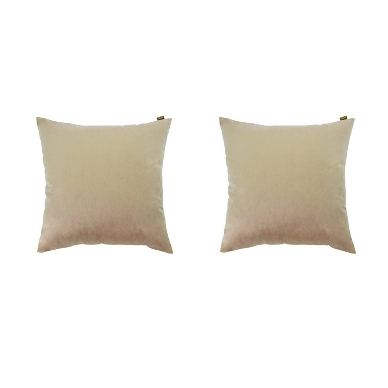 Set of 2 removable cushions VILLETTA velvet taupe 40x40