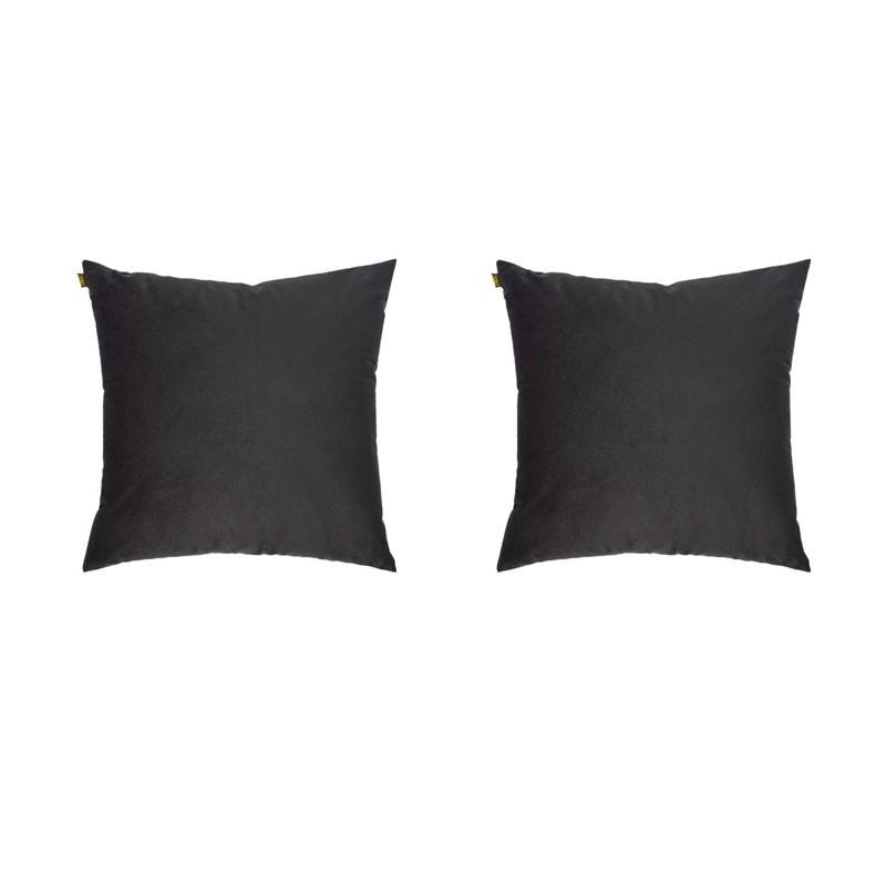 Set van 2 kussens VILLETTA met afneembare hoezen in antraciet fluweel 40x40