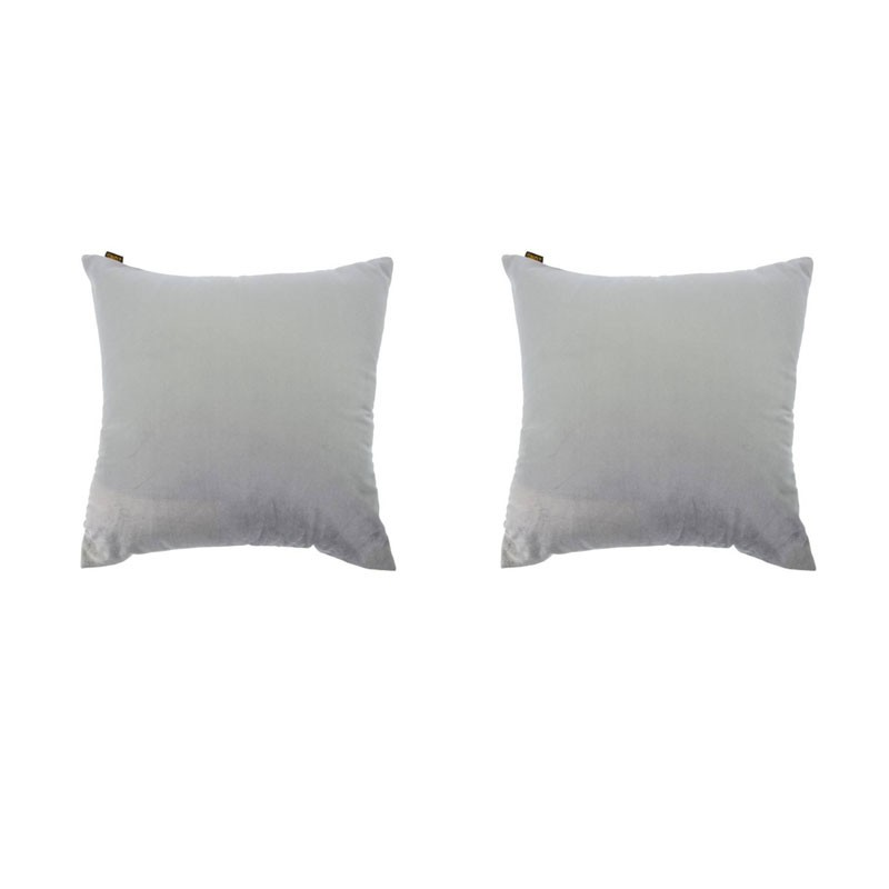 Set of 2 VILLETTA cushions with removable covers in grey velvet 40x40