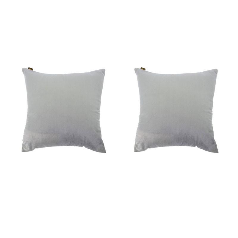 Set van 2 kussens VILLETTA met afneembare hoezen in grijs fluweel 40x40