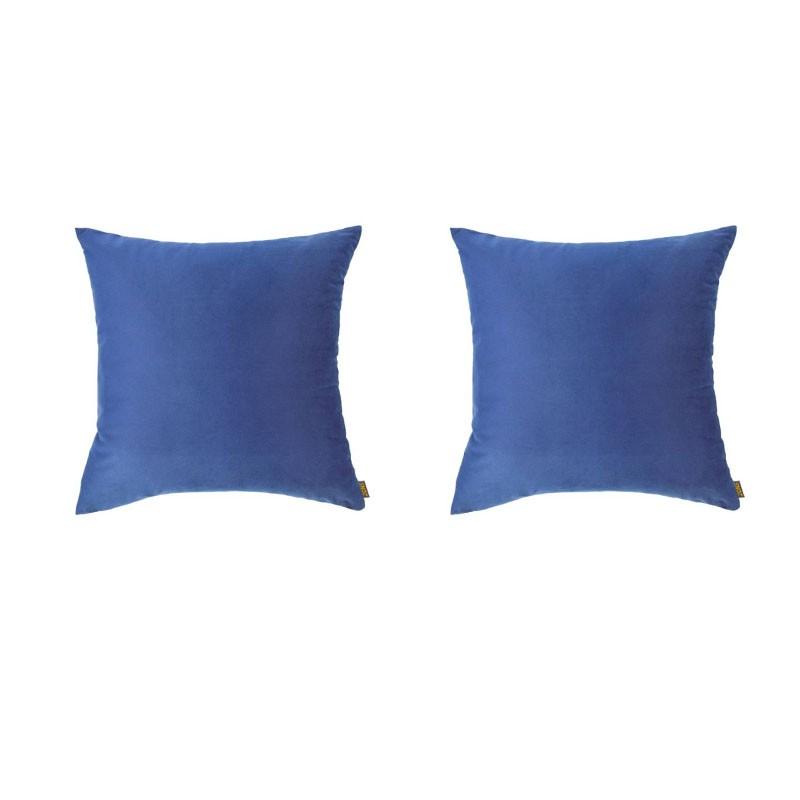 Set van 2 kussens VILLETTA met afneembare hoezen in blauw fluweel 40x40
