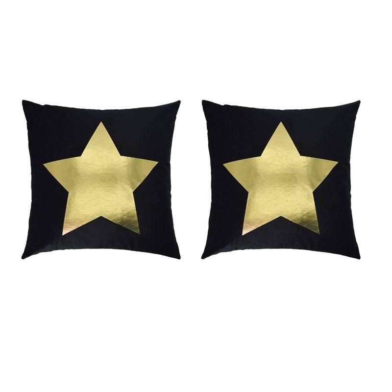 Set of 2 PORTONOVO black cushions with golden star 45x45