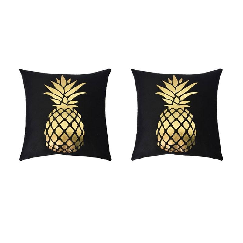 Set of 2 PORTONOVO black cushions with golden pineapple 45x45