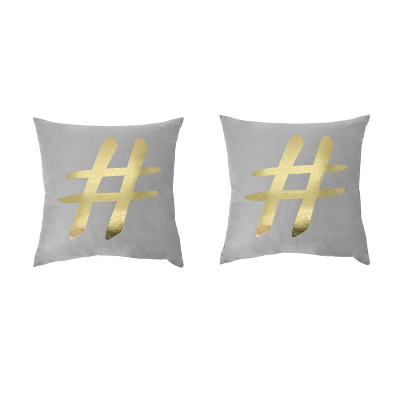 Set of 2 PORTONOVO gray cushions with golden star 45x45