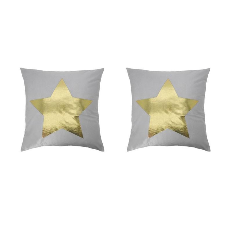 Lot de 2 coussins PORTONOVO gris avec étoile dorée 45x45
