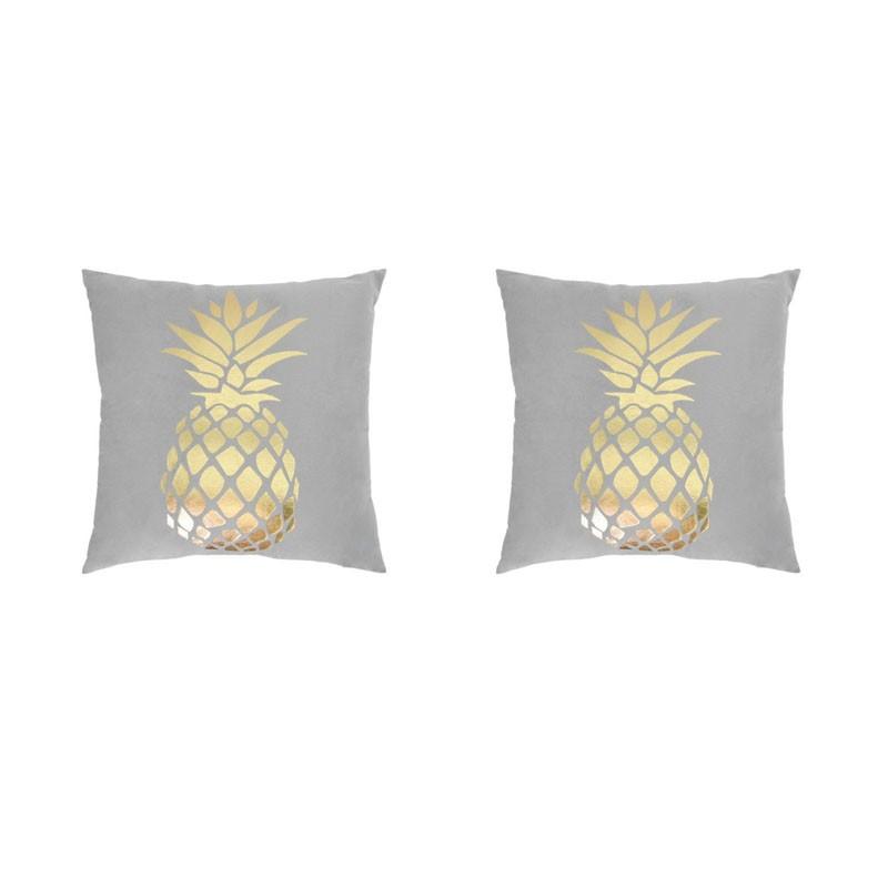 Set of 2 PORTONOVO gray cushions with golden pineapple 45x45