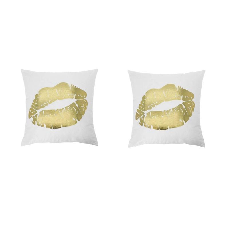 Set of 2 PORTONOVO white cushions with golden mouth 45x45
