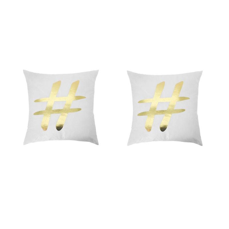Set of 2 white PORTONOVO cushions with golden hashtag 45x45
