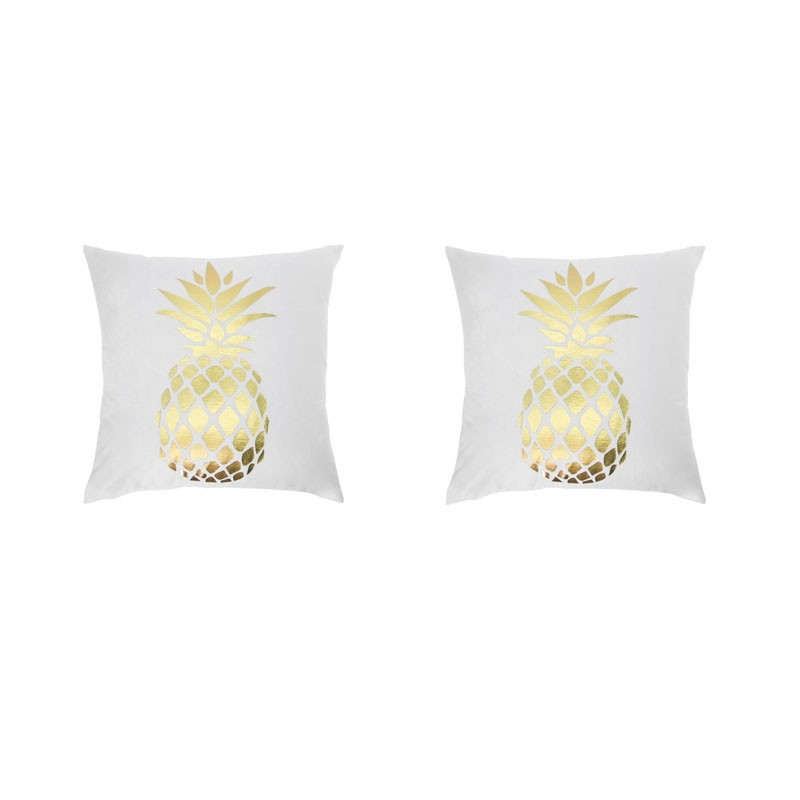Lot de 2 coussins PORTONOVO blancs avec ananas doré 45x45