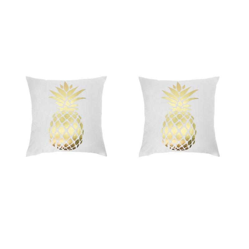 Set of 2 white PORTONOVO cushions with golden pineapple 45x45