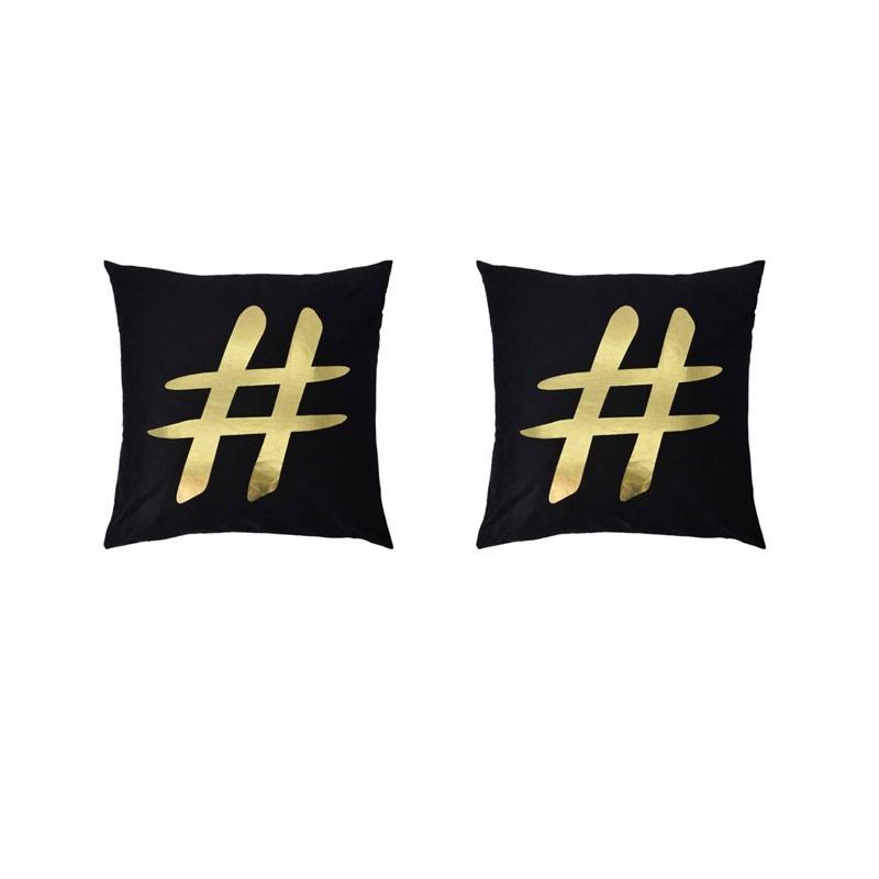 Lot de 2 coussins PORTONOVO noirs avec hashtag doré 45x45