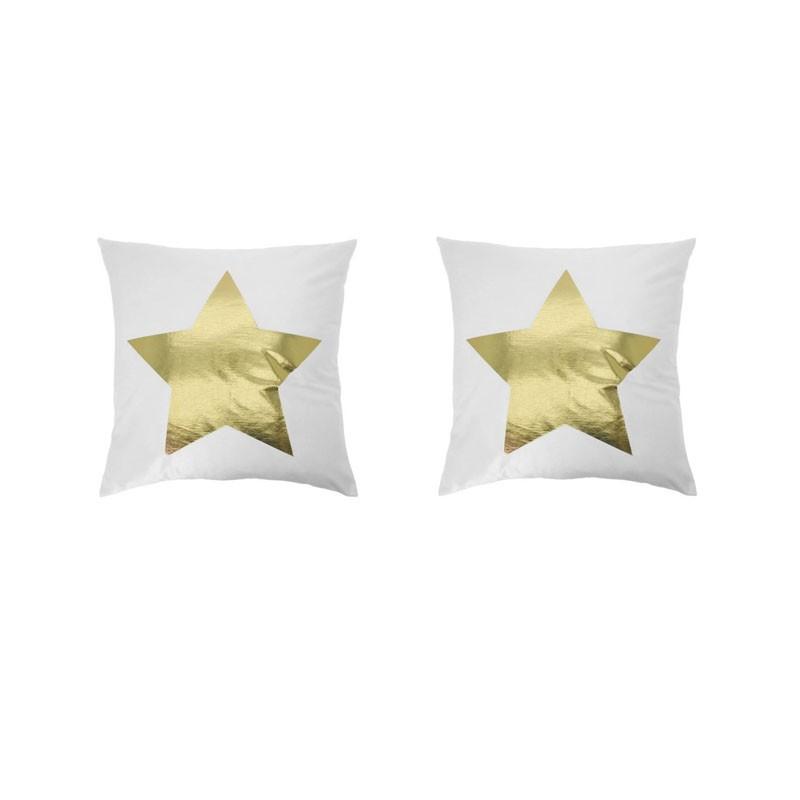 Set of 2 PORTONOVO white cushions with golden star 45x45