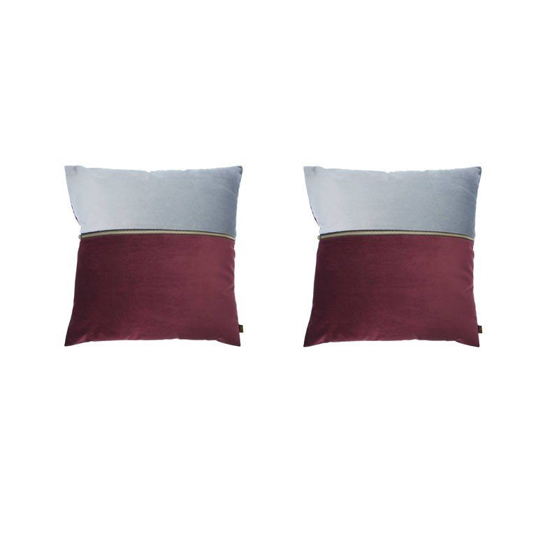 Set of 2 ADELANO cushions in burgundy and gray velvet with zip 40x40