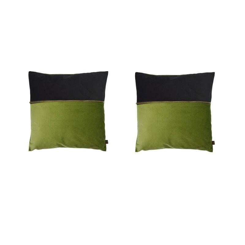 Lot de 2 coussins ADELANO en velours noir et vert avec zip 40x40