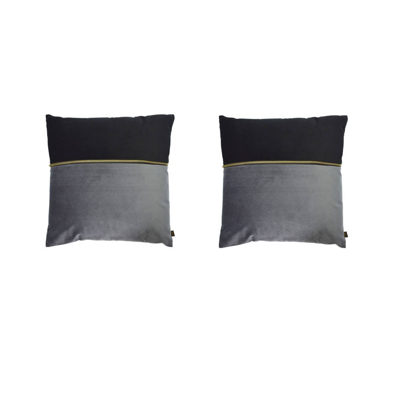 Set of 2 ADELANO cushions in black and anthracite velvet with zip 40x40