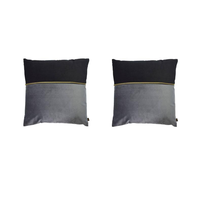 Set van 2 kussens ADELANO in zwart en antraciet fluweel met ritssluiting 40x40