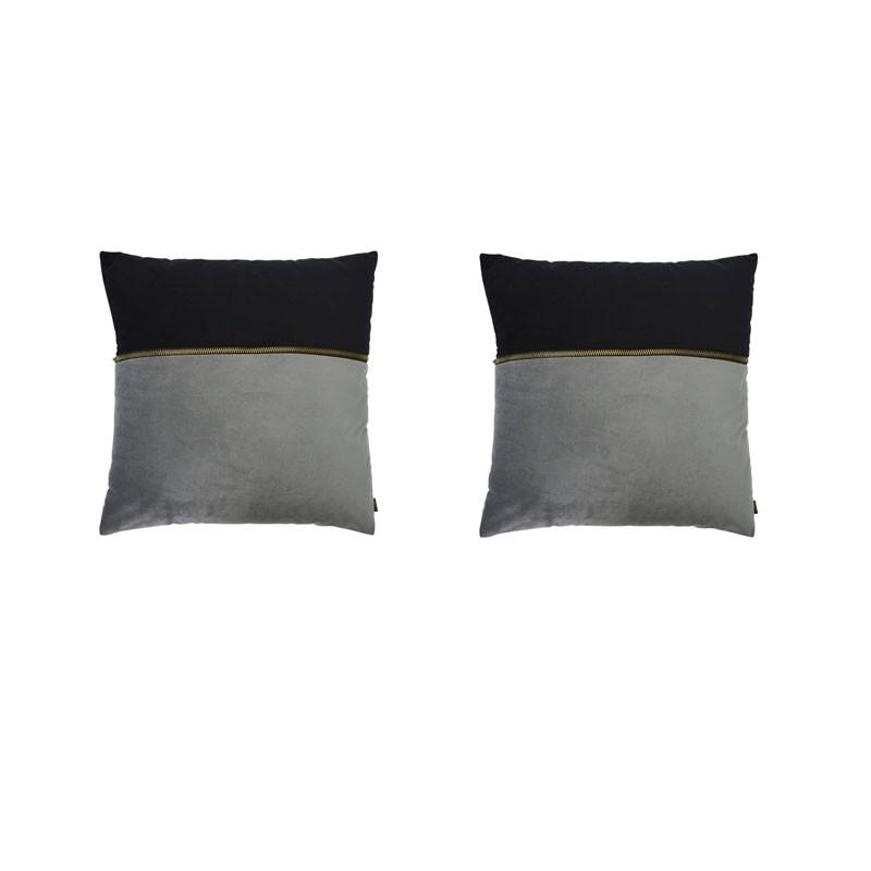 Lot de 2 coussins ADELANO en velours gris et noir avec zip 40x40