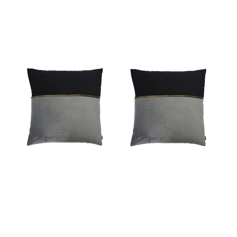 Set of 2 ADELANO cushions in gray and black velvet with zip 40x40