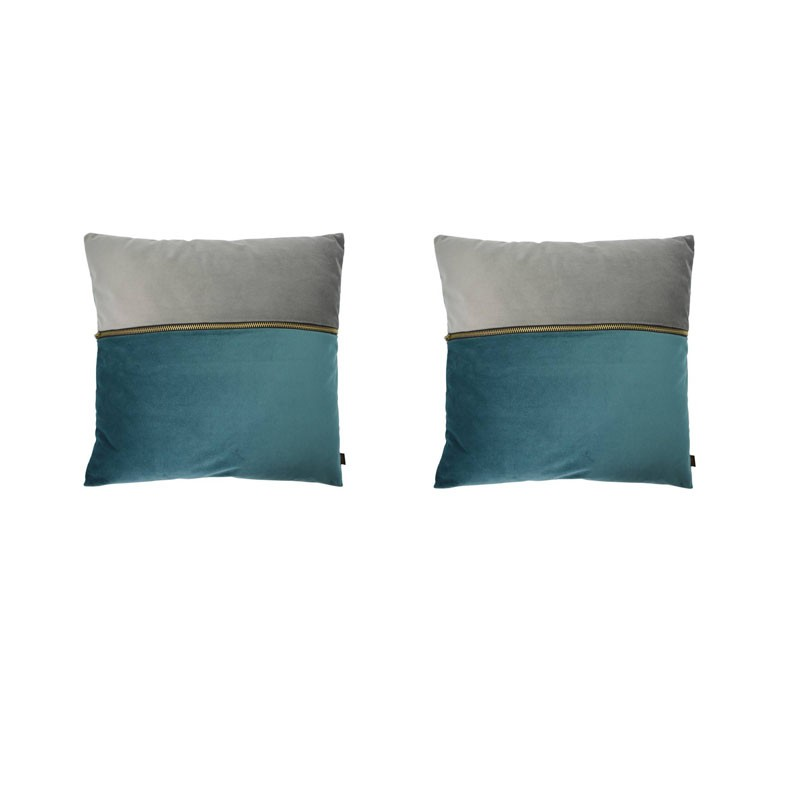 Set of 2 ADELANO cushions in blue and gray velvet with zip 40x40