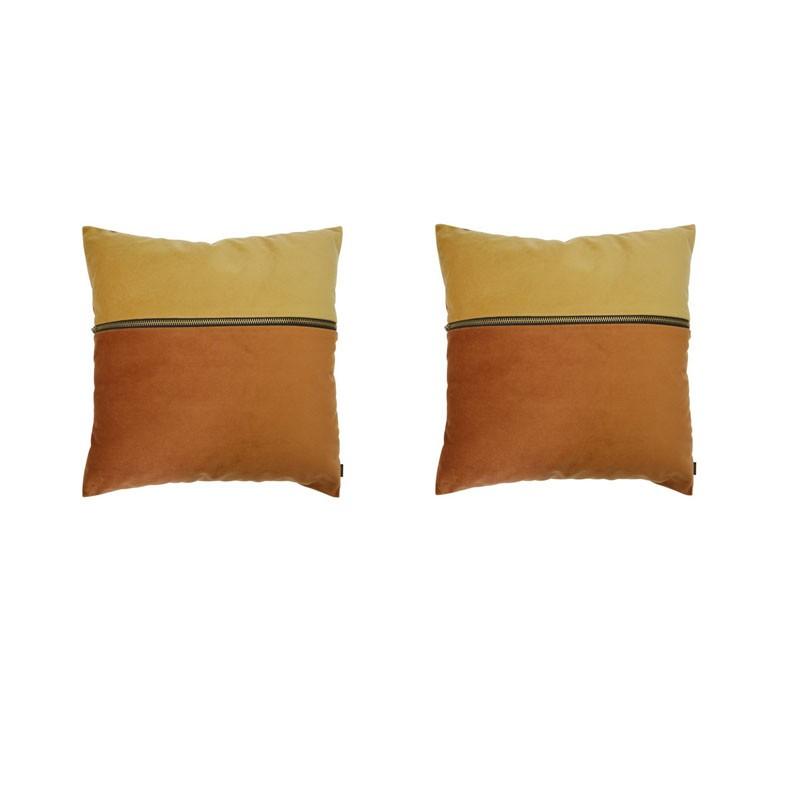 Set van 2 kussens ADELANO in roestkleurig fluweel en saffraan met ritssluiting 40x40
