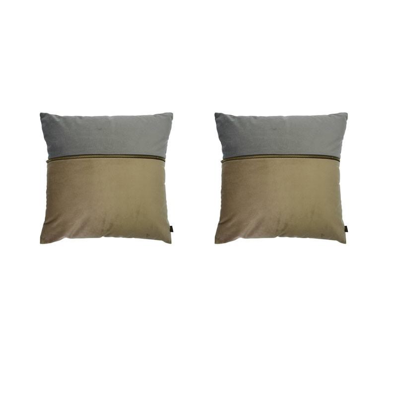 Set of 2 ADELANO cushions in beige and gray velvet with zip 40x40
