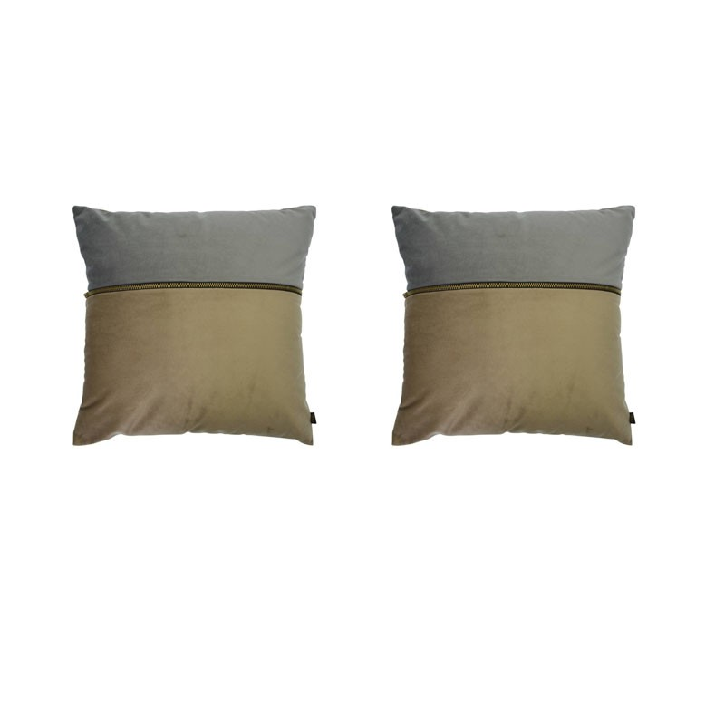 Set van 2 kussens ADELANO in beige en grijs fluweel met ritssluiting 40x40