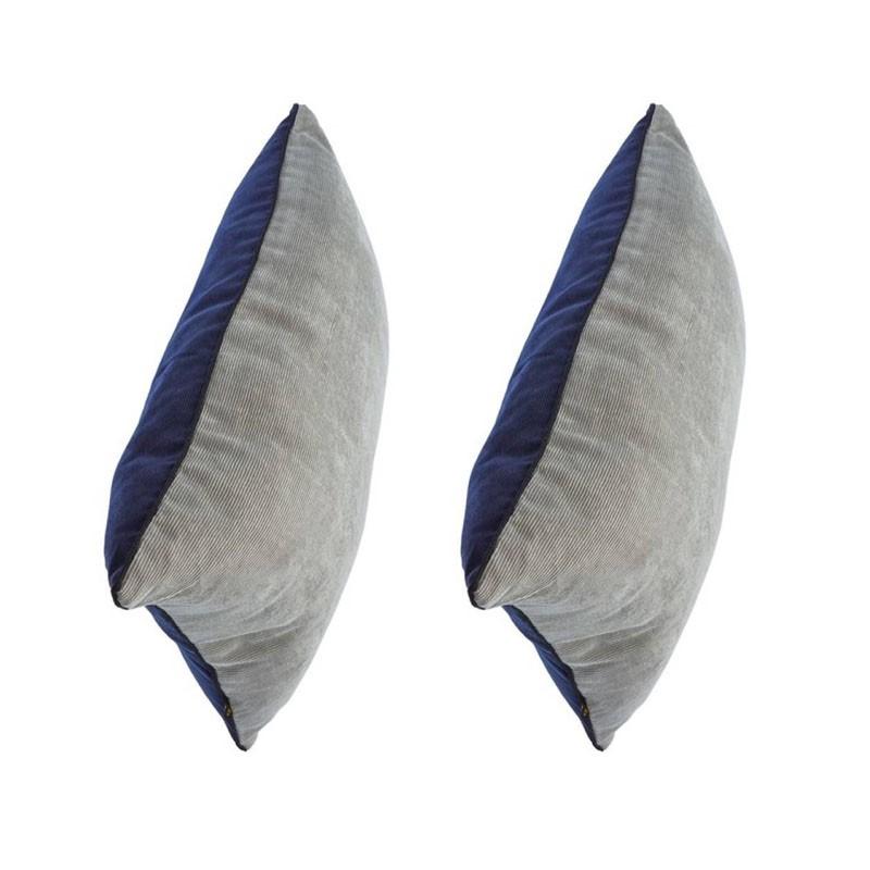 Set of 2 LUCIENNE bicolor velvet cushions 30x50