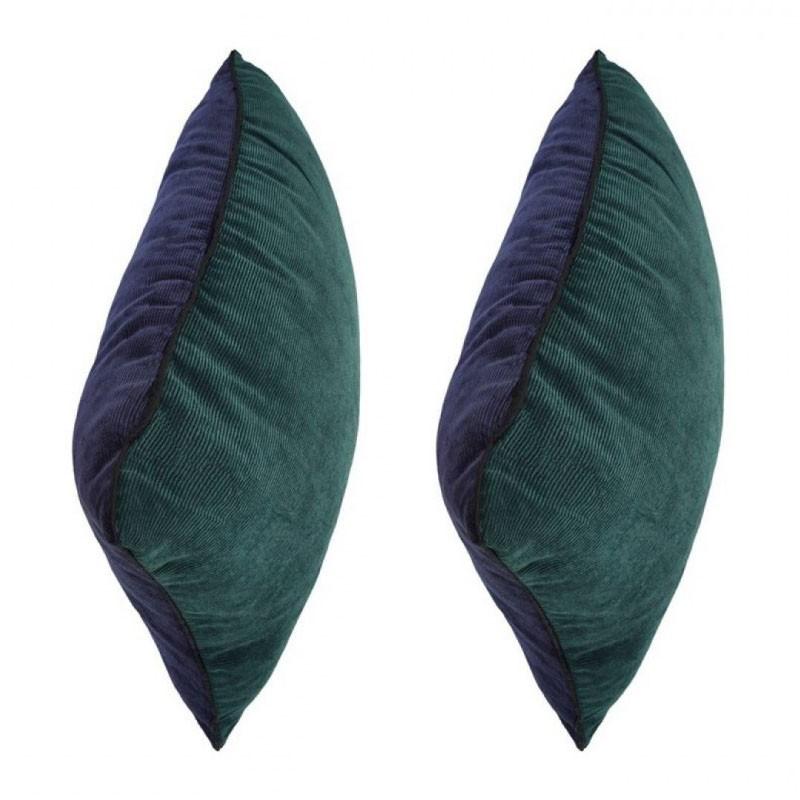 Lot de 2 coussins LUCIENNE bicolores en velours 45x45