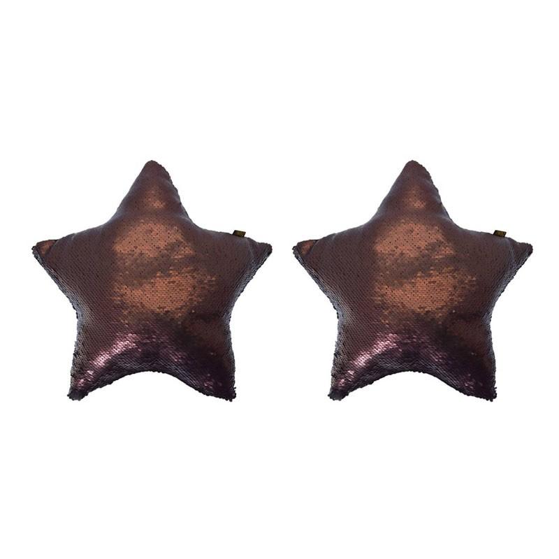 Lot de 2 MERMAID coussins sequin étoile pailletés 40x40