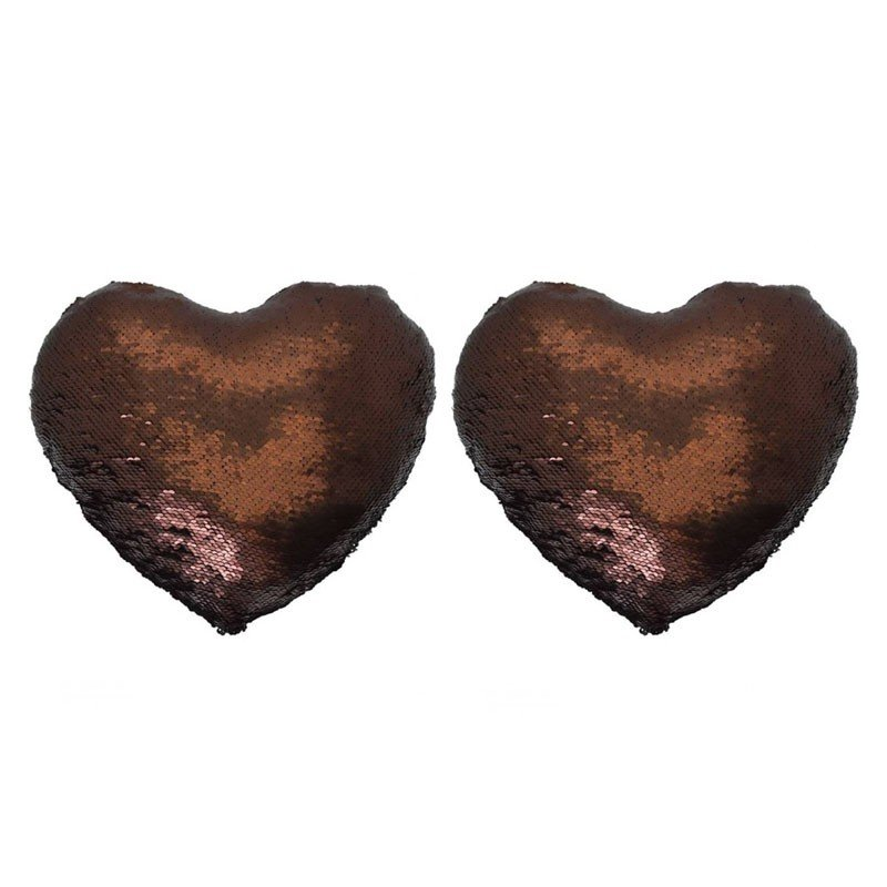 Lot de 2 MERMAID coussins coeur pailletés 30x34