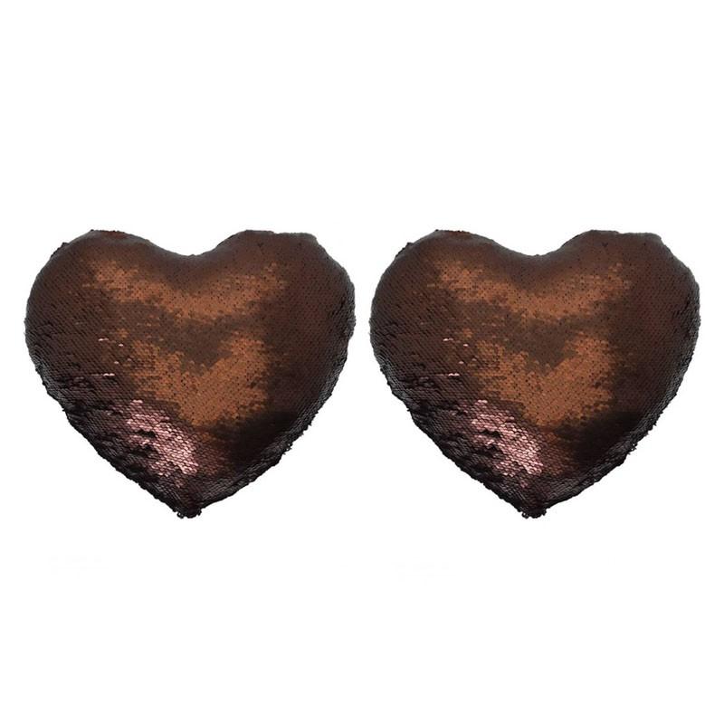 Lot of 2 MERMAID glitter heart cushions 30x34