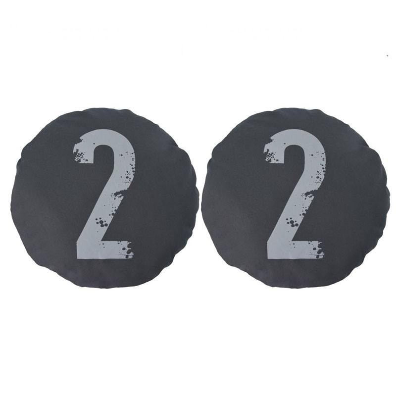 Lot de 2 coussins CHOI ronds chiffre 2 noir D45