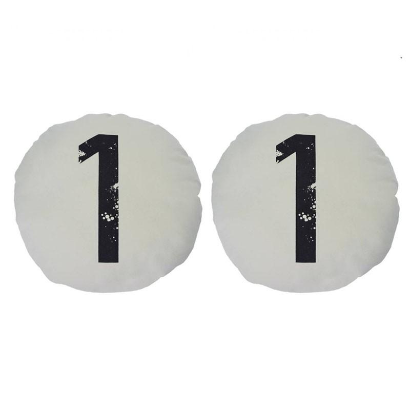 Lot de 2 coussins CHOI ronds chiffre 1 blanc D45