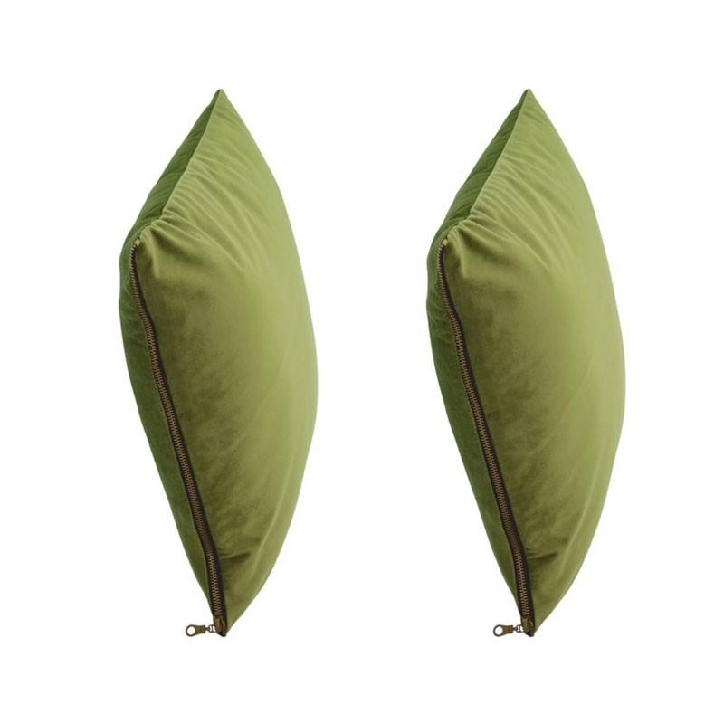 Lot de 2 coussins MOSALI en velours vert sapin 50x50