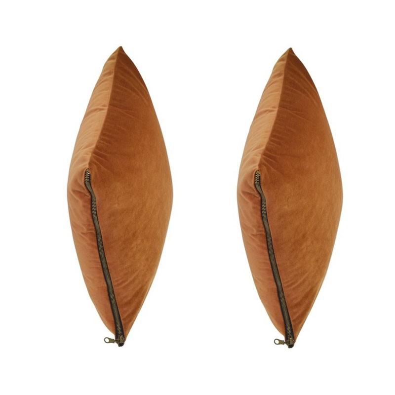 Set of 2 MOSALI cushions in orange velvet 50x50