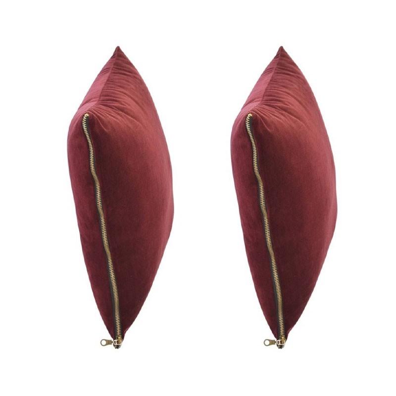 Set of 2 MOSALI cushions in burgundy velvet 50x50