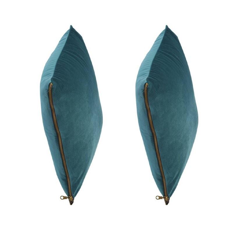 Set of 2 MOSALI cushions in blue velvet 50x50