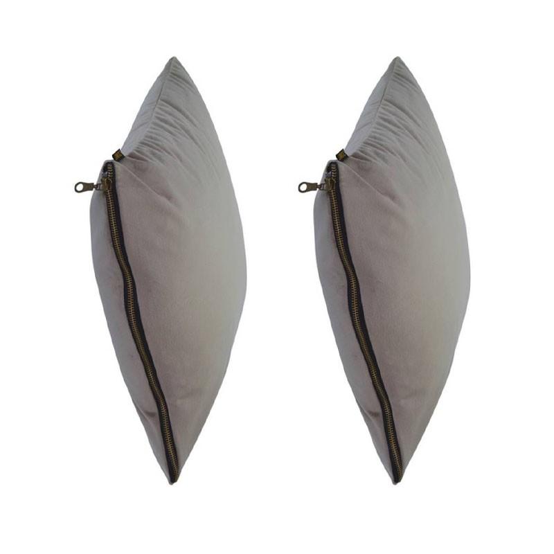 Set of 2 MOSALI cushions in beige velvet 50x50