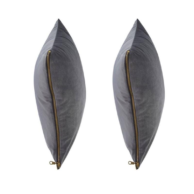 Set van 2 kussens MOSALI in antraciet fluweel 50x50