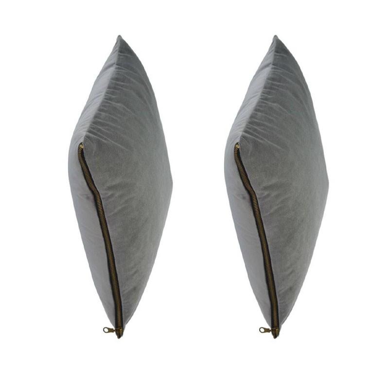 Lot of 2 MOSALI cushions in grey velvet 50x50