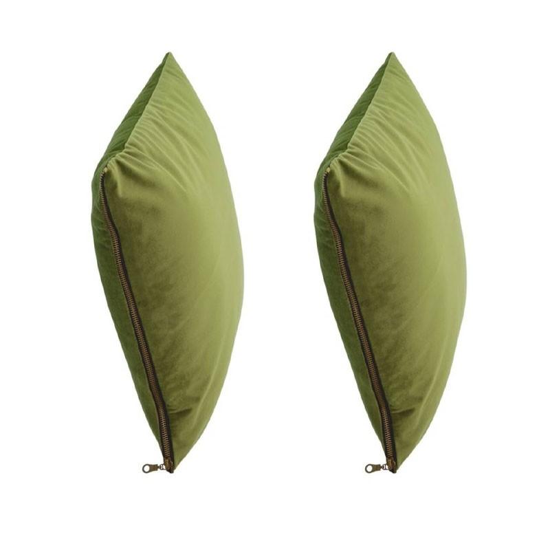 et of 2 MOSALI cushions in green velvet 40x40