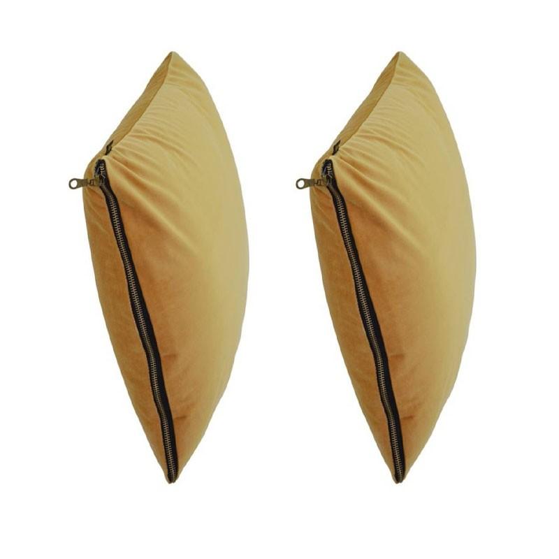 et of 2 MOSALI cushions in yellow velvet 40x40