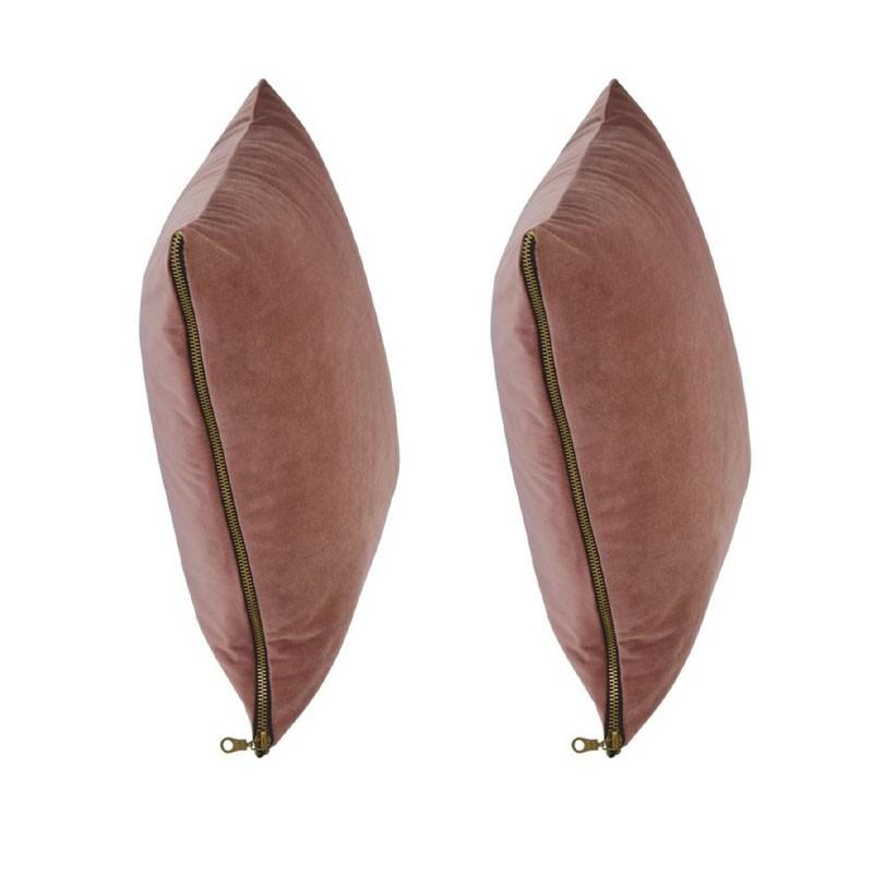 et of 2 MOSALI cushions in pink velvet 40x40