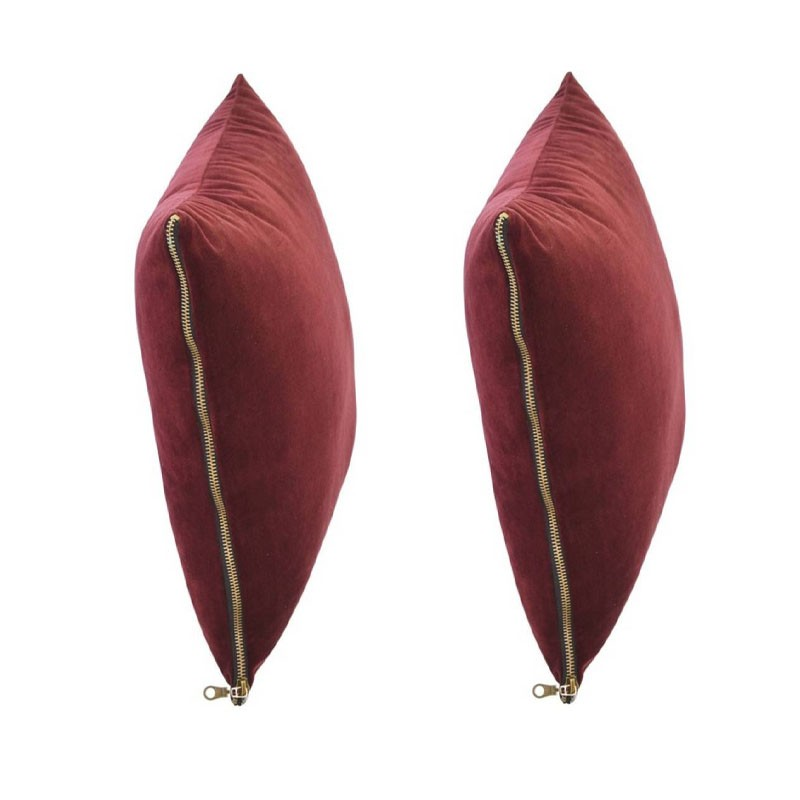 et of 2 MOSALI cushions in bordeaux velvet 40x40