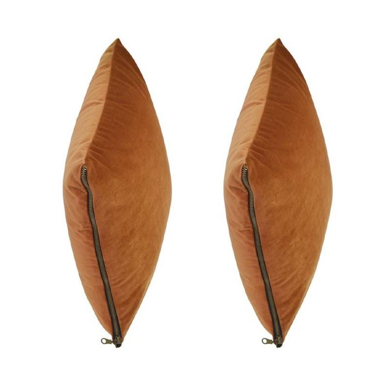 Set of 2 cushions MOSALI rust velvet 40x40
